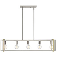 Golden Lighting 6070-LP-PW-AB Tribeca PW 5 Light 41 inch Pewter Linear Pendant Ceiling Light in Pewter with Aged Brass Accents