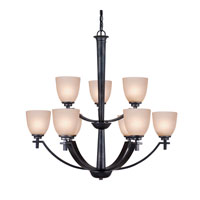 Golden Lighting Hampden 9 Light Chandelier in Dark Natural Iron with Birch Glass 6262-9-DNI