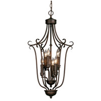 Multi-Family 6 Light 16 inch Rubbed Bronze Caged Foyer Ceiling Light, 3 Tier
