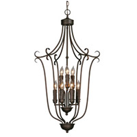 Multi-Family 9 Light 20 inch Rubbed Bronze Caged Foyer Ceiling Light, 2 Tier