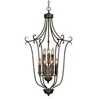 Golden Lighting 6427-9-RBZ Multi-family 9 Light 20 inch Rubbed Bronze Caged Foyer Ceiling Light 2 Tier