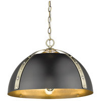 Golden Lighting 6928-3P-AB-BLK Aldrich 3 Light 18 inch Aged Brass Pendant Ceiling Light Convertible