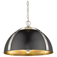 Golden Lighting 6928-3P-PW-BLK Aldrich 3 Light 18 inch Pewter Pendant Ceiling Light Convertible