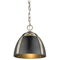 Golden Lighting 6928-S-AB-BLK Aldrich 1 Light 10 inch Aged Brass Mini Pendant Ceiling Light