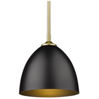 Golden Lighting 6956-S OG-BLK Zoey 1 Light 9 inch Olympic Gold Pendant Ceiling Light in Matte Black