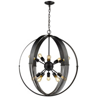 Golden Lighting 7001-10P ABZ Carter 10 Light 30 inch Aged Bronze Foyer Chandelier Ceiling Light Large Caged