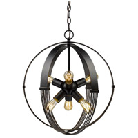 Carter 6 Light 19 inch Aged Bronze Foyer Pendant Ceiling Light