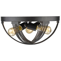 Carter 3 Light 14 inch Aged Bronze Flush Mount Ceiling Light