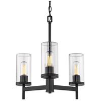 Golden Lighting 7011-3-BLK-CLR Winslett 3 Light 20 inch Matte Black Chandelier - Mini Ceiling Light