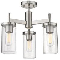 Golden Lighting 7011-3SF PW-CLR Winslett 3 Light 17 inch Pewter Semi-Flush Ceiling Light Damp