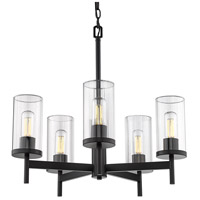 Golden Lighting 7011-5-BLK-CLR Winslett 5 Light 24 inch Matte Black Chandelier Ceiling Light