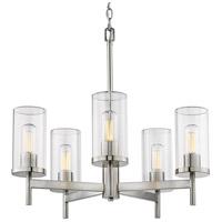 Golden Lighting 7011-5 PW-CLR Winslett 5 Light 24 inch Pewter Chandelier Ceiling Light