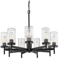 Golden Lighting 7011-9 BLK-CLR Winslett 9 Light 30 inch Matte Black Chandelier Ceiling Light Large