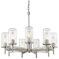 Golden Lighting 7011-9 PW-CLR Winslett 9 Light 30 inch Pewter Chandelier Ceiling Light Large