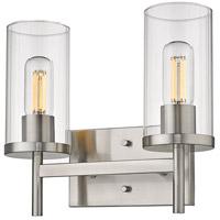 Golden Lighting 7011-BA2 PW-CLR Winslett 2 Light 13 inch Pewter Bath Fixture Wall Light