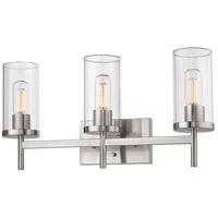 Golden Lighting 7011-BA3-PW-CLR Winslett 3 Light 23 inch Pewter Bath Fixture Wall Light