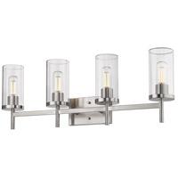 Golden Lighting 7011-BA4 PW-CLR Winslett 4 Light 32 inch Pewter Bath Fixture Wall Light