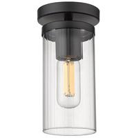 Golden Lighting 7011-SF-BLK-CLR Winslett 1 Light 5 inch Matte Black Semi-flush - Damp Ceiling Light