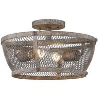 Golden Lighting 7019-SF PR Calgary 2 Light 14 inch Pebbled Rust Semi-Flush Ceiling Light Damp