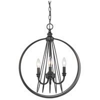 Golden Lighting 7035-3P BLK Quinn 3 Light 18 inch Matte Black Pendant Ceiling Light