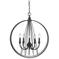 Quinn 5 Light 23 inch Black Foyer Pendant Ceiling Light