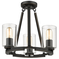 Golden Lighting 7041-SF-BLK-CLR Monroe 3 Light 16 inch Black with Gold Highlights Semi-Flushmount Ceiling Light, Convertible to Semi-Flush