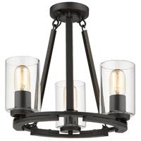 Golden Lighting 7041-SF-BLK-CLR Monroe 3 Light 16 inch Black with Gold Highlights Semi-Flushmount Ceiling Light Convertible to Semi-Flush