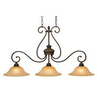 Golden Lighting Mayfair 3 Light Island Light in Leather Crackle with Creme Brulee Glass 7116-10-LC
