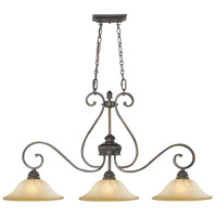 Golden Lighting Mayfair 3 Light Linear Pendant in Leather Crackle 7116-10-LC
