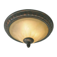 Golden Lighting Mayfair 3 Light Flush Mount in Leather Crackle with Creme Brulee Glass 7116-17-LC