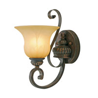 Golden Lighting Mayfair 1 Light Wall Sconce in Leather Crackle with Creme Brulee Glass 7116-1W-LC