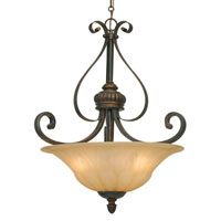 Golden Lighting Mayfair 3 Light Bowl Pendant in Leather Crackle with Creme Brulee Glass 7116-3P-LC
