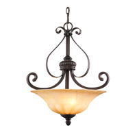 Mayfair 3 Light 18 inch Leather Crackle Pendant Ceiling Light, Bowl