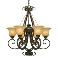 Golden Lighting Mayfair 6 Light Chandelier in Leather Crackle with Creme Brulee Glass 7116-6-LC