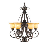 Mayfair 6 Light 29 inch Leather Crackle Chandelier Ceiling Light
