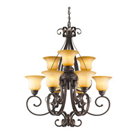 Golden Lighting 7116-9-LC Mayfair 9 Light 32 inch Leather Crackle Chandelier Ceiling Light 2 Tier