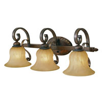 Golden Lighting Mayfair 3 Light Bath Fixture in Leather Crackle with Creme Brulee Glass 7116-BA3-LC
