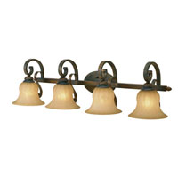 Golden Lighting Mayfair 4 Light Bath Fixture in Leather Crackle with Creme Brulee Glass 7116-BA4-LC