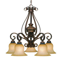 Golden Lighting Mayfair 5 Light Chandelier in Leather Crackle with Creme Brulee Glass 7116-D5-LC