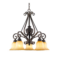 Mayfair 5 Light 26 inch Leather Crackle Nook Chandelier Ceiling Light
