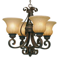 Golden Lighting Mayfair 4 Light Mini Chandelier in Leather Crackle with Creme Brulee Glass 7116-GM4-LC