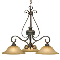 Golden Lighting Mayfair 3 Light Chandelier in Leather Crackle with Creme Brulee Glass 7116-ND3-LC