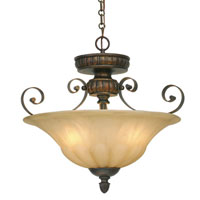 Golden Lighting Mayfair 3 Light Convertible Semi-Flush in Leather Crackle with Creme Brulee Glass 7116-SF-LC