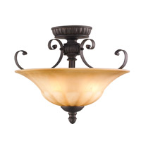 Mayfair 3 Light 17 inch Leather Crackle Semi-Flush Ceiling Light, Convertible
