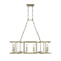 Golden Lighting Bellare 8 Light Linear Pendant in White Gold 7151-LP-WG