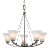 Golden Lighting Accurian 5 Light Chandelier in Pewter with Chiseled Marble Glass 7158-5-PW photo thumbnail