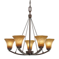 Golden Lighting Accurian 5 Light Chandelier in Rubbed Bronze with Chiseled Antique Marble Glass 7158-5-RBZ
