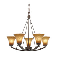 Golden Lighting Accurian 5 Light Chandelier in Rubbed Bronze with Chiseled Antique Marble Glass 7158-5-RBZ alternative photo thumbnail