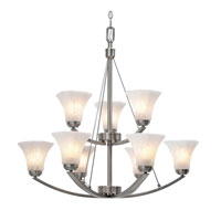 Golden Lighting Accurian 9 Light Chandelier in Pewter with Chiseled Marble Glass 7158-9-PW alternative photo thumbnail