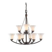 Golden Lighting Accurian 9 Light Chandelier in Rubbed Bronze 7158-9-RBZ-OP